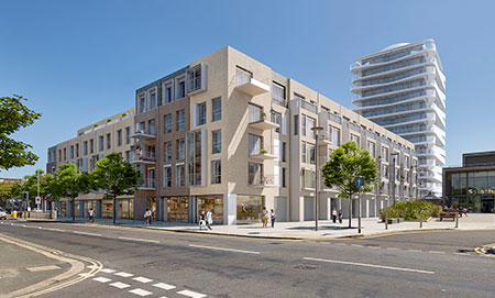 Visualisation of the street view of the new build Bayside Worthing apartments