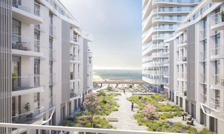 Courtyard visualisation of the Bayside Apartments looking out to sea