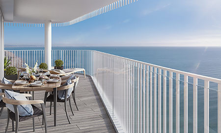 Visualisation of the view from the Bayside Apartments on Worthing seafront overlooking the sea