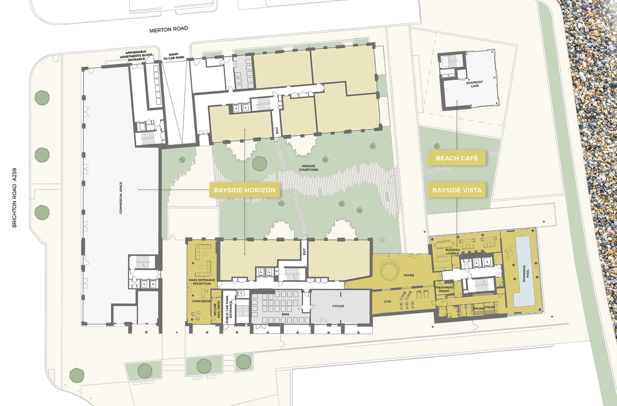 Site plan of the Bayside Apartments development in Worthing